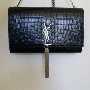 Saint Laurent Kate Crocodile Embossed Bag